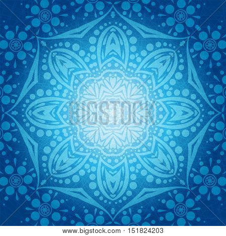 Flower circular background. A stylized drawing. Mandala. Stylized lace ornament. Indian floral ornament. Beautiful ethnic, oriental background for greeting cards, labels.