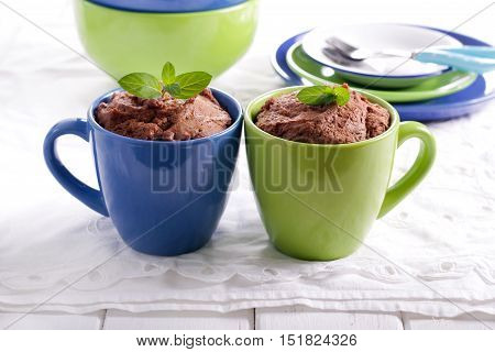 Chocolate and peanut microwave cakes in mugs