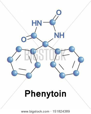 Phenytoin is an anti-seizure medication. It is useful for the prevention of tonic-clonic seizures, partial seizures, but not absence seizures. Vector skeletal formula of the drug.