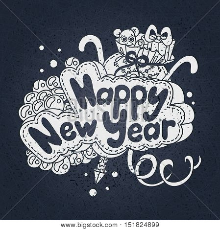 Vector illustration. Happy new year text design. Hand drawing. Fireworks, firecracker, balls. Bag with gifts, soft toys. Postcard Happy New Year and Merry Christmas. Greeting card