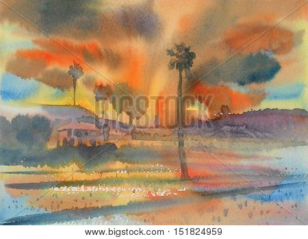 Watercolor landscape original painting colorful of rice field in mountain and emotion in color of cloud background