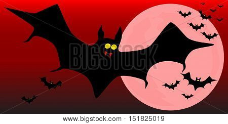 Vampire bats flying across the moon against a dark red sky