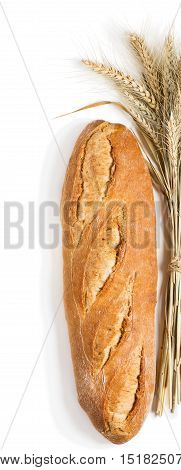 Top view of one loaf of baguettes bread and sheaf of wheat isolated on white background.