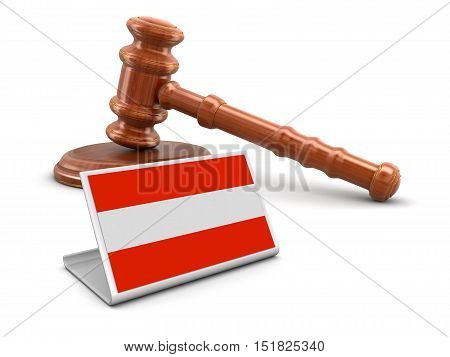 3D Illustration. 3d wooden mallet and Austrian flag. Image with clipping path