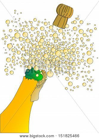 Champagne bottle being opened with froth and bubbles isolated on white