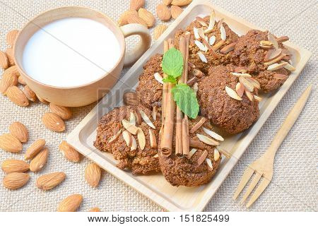 Homemade cookies, almonds and almond milk, clean food.