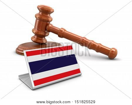 3D Illustration. 3d wooden mallet and Thai flag. Image with clipping path