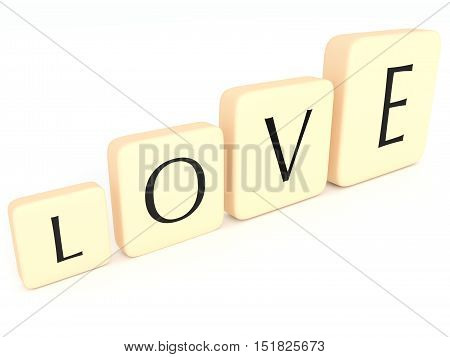 Growing Love: Letter Tiles Forming The Word Love 3d illustration