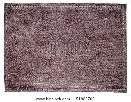 blank old brown leather jeans label on white background