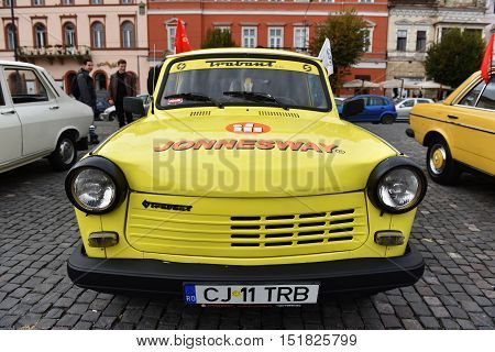 Yellow Trabant Vintage Car From Eastern Europe