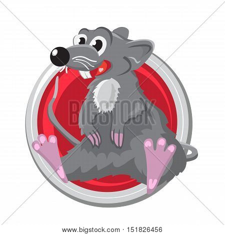 Rat. Orient horoscope sign isolated in circle. Chinese symbols. Zodiac.