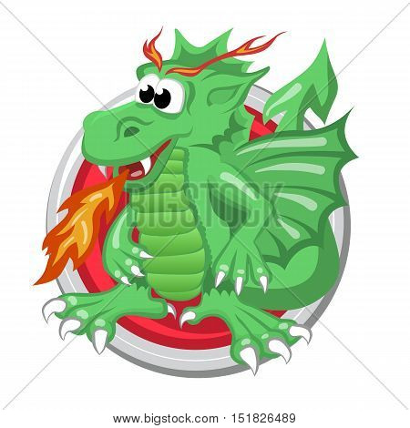 Dragon. Orient horoscope sign isolated in circle. Chinese symbols. Zodiac.
