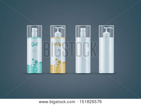 Premium photo-realistic layered vector mock-up set of soap / gel bottles ready for to showcase your design. Vector file can be scaled to any size you want.
