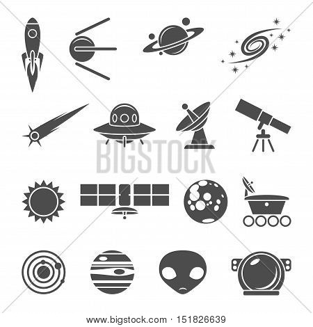 Space black and white vector icons set
