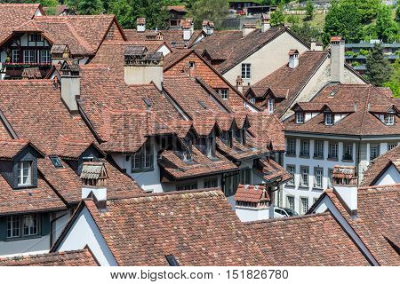 Old tiled roofs in the historical center of Bern Switzerland