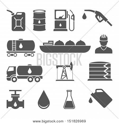 Oil and petroleum vector black icon set