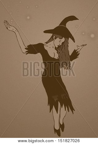 Magic witch with big hat vintage image