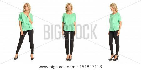 Full Length Portrait Of Beautiful Blonde In Green Blouse