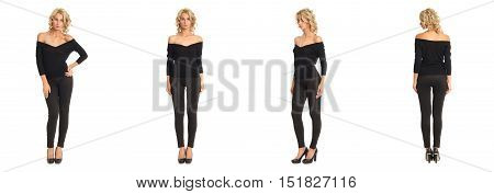 Full Length Portrait Of Beautiful Blonde In Black Blouse