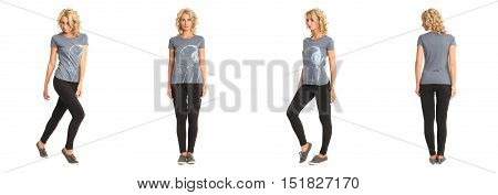 Full Length Portrait Of Beautiful Blonde In Gray Shirt