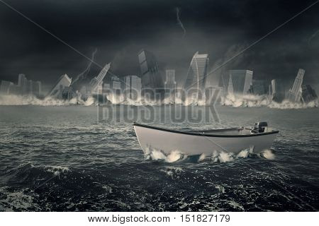 Image of a boat on the sea with cloudy sky and a sinking city. Concept of bankruptcy
