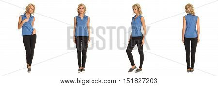 Full Length Portrait Of Beautiful Blonde In Blue Shirt
