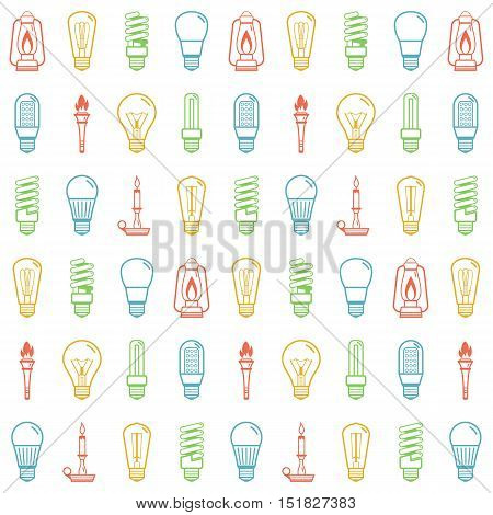 Color lamp bulb silhouettes seamless background. Vector illustration