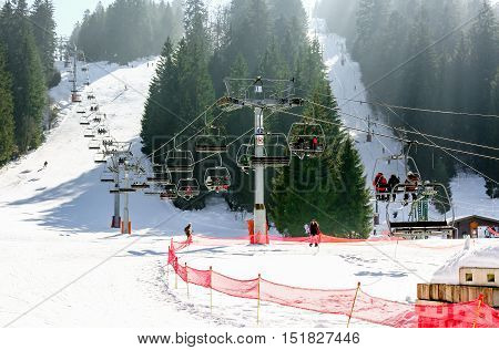 Gerardmer, France - Feb 19 - Chairlift. Ski Resort Large View During The Annual Winter School Holida