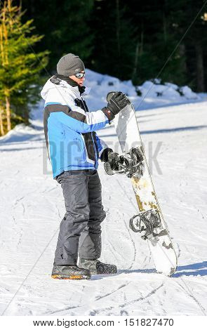 Gerardmer, France - Feb 19- Closeup On Snowborder During The Annual Winter School Holiday On Feb 19,