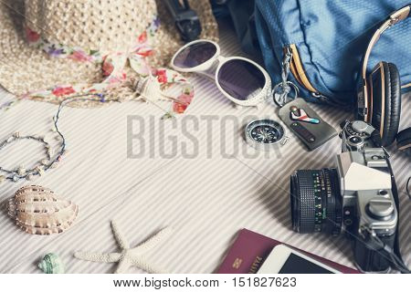 Overhead view of Traveler's accessories and items Vintage tone Travel concept
