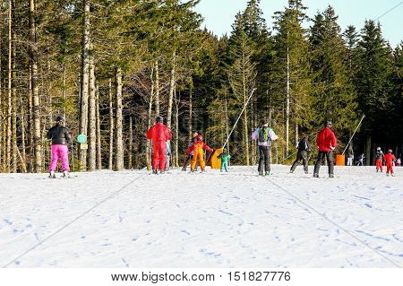 Gerardmer, France - Feb 20 - Group Of Beginner Skiers During The Annual Winter School Holiday On Feb