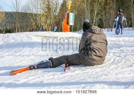 Gerardmer, France - Feb 16- Beginner Skier Fell To The Ground During The Annual Winter School Holida