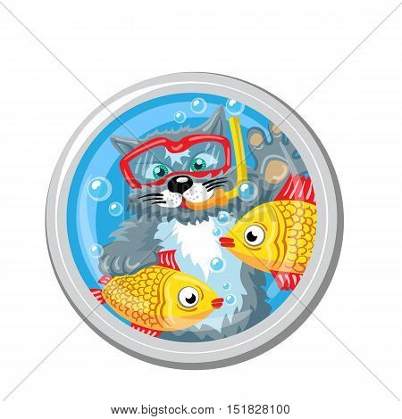 Pisces. Horoscope sign in circle isolated. Cat. Zodiac