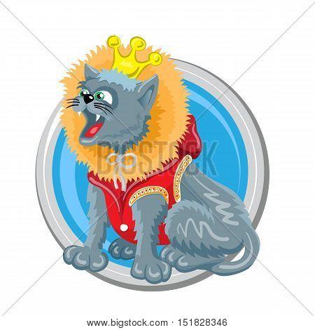 Leo. Horoscope sign in circle isolated. Cat. Zodiac