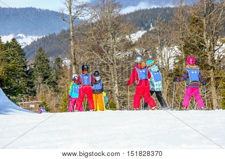 Gerardmer, France - Feb 17 - French Children Form Ski School Groups During The Annual Winter School