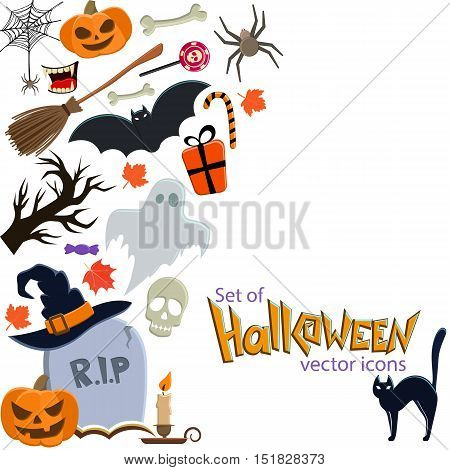 Side vertical border with Halloween icons. Template for packaging, cards, posters, menu. Vector stock illustration.