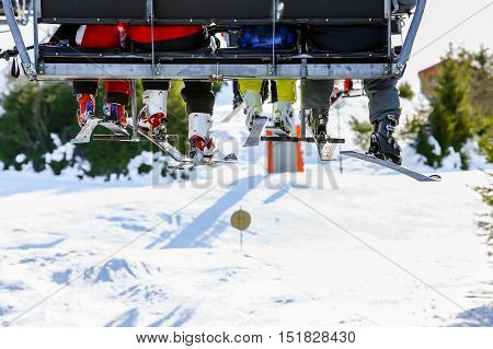 Gerardmer, France - Feb 19 - Chairlift Close Up During The Annual Winter School Holiday On Feb 19, 2