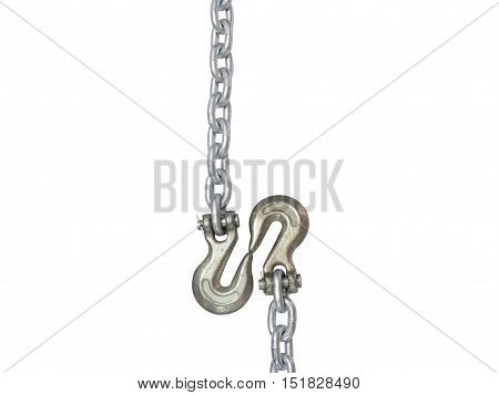 metal chain and hook isolated on white background.