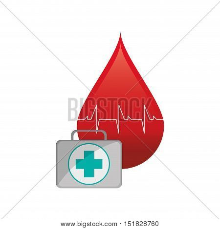 flat design blood drop cardiogram and first aid kit  icon vector illustration
