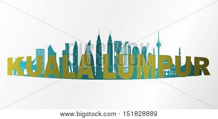Modern Kuala Lumpur City Skyline. Design vector illustration.