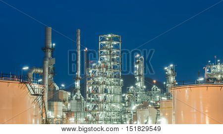 Oil Refinery Factory Petroleum At Night