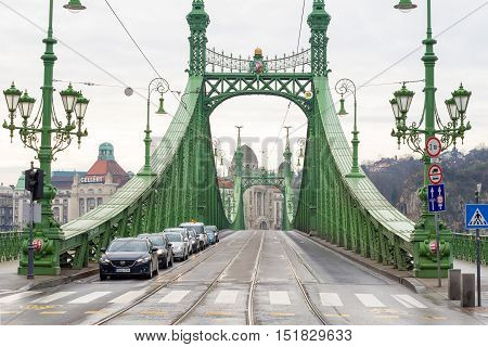 Liberty Bridge Or Freedom Bridge In Budapest, Hungary.