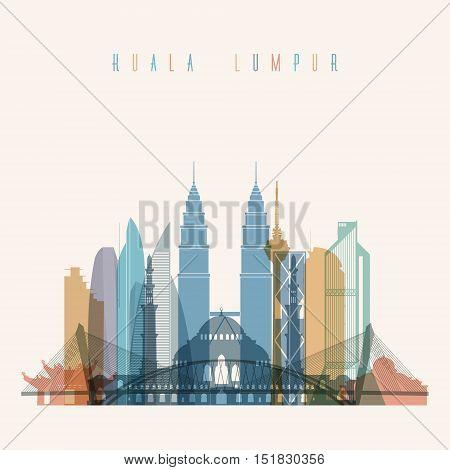 Transparent styled Kuala Lumpur skyline detailed silhouette. Trendy vector illustration.