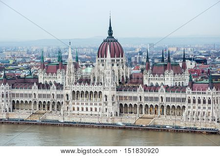 Aerial View Of The Hungarian Parliament Building. Budapest.