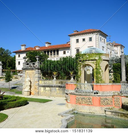 Vizcaya, Florida's grandest residence, once belongs to millionaire industrialist James Deering, is in downtown Miami, Florida, USA.