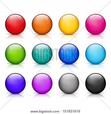 Illustration of twelve round icons on white background