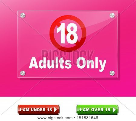 Illustration of adults only access design page