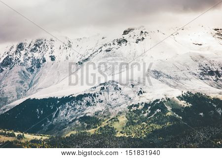 Snow Mountains beautiful Landscape Travel scenic aerial view cloudy moody weather