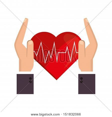 flat design heart cardiogram and sheltering hands icon vector illustration