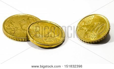 view of euro cent coins over a white background